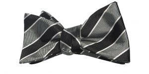 Gray and Black Stripes Bow Tie