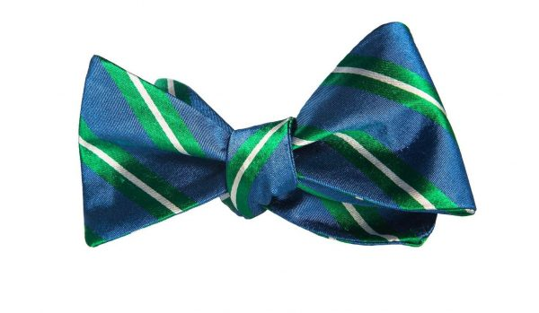 Blue and Green Striped Bow Tie