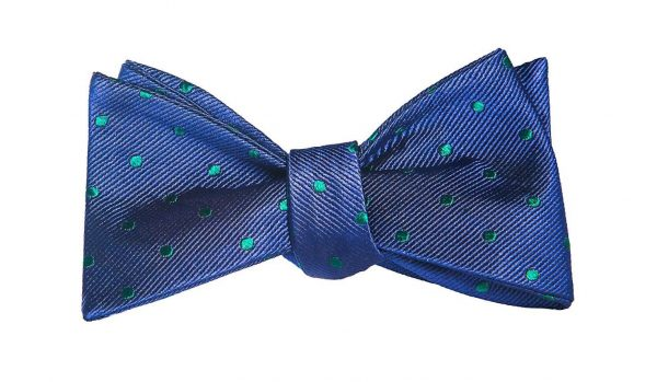 Navy and Green Polka Dot Bow Tie