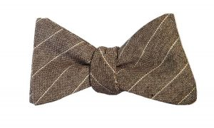 Brown Burlap Stripes Bow Tie