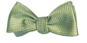 Green Woven Basket Stitch Bow Tie
