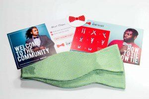 Green Woven Basket Stitch Bow Tie