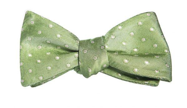 Light Green Polka Dot Bow Tie