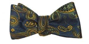 Dark Green Paisley Bow Tie