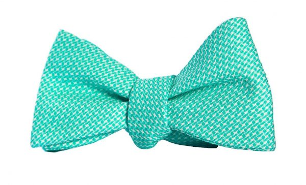 Green Textured Houndstooth Geometric Bow Tie