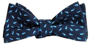 Navy Micro Penguins Bow Tie