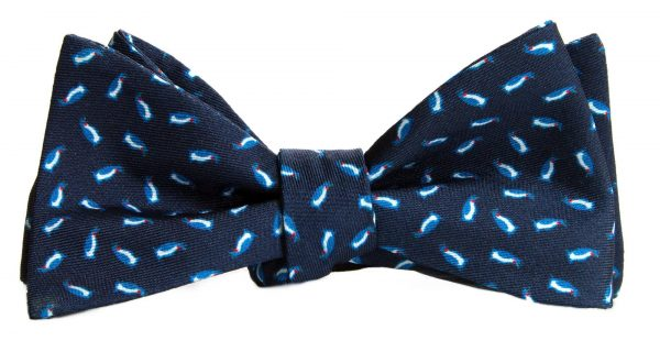 Navy Micro Penguins Bow Tie