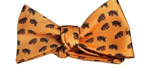 Orange Bull and Bear Bow Tie