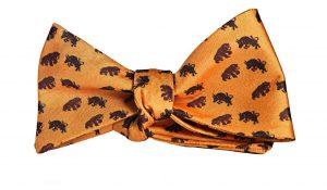 Orange Bull and Bear Bow Tie