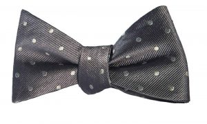Gray and Silver Polka Dot Bow Tie