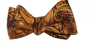 Orange Paisley Bow Tie