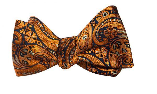 Orange Paisley Bow Tie