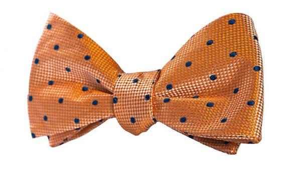 Orange and Navy Polka Dot Bow Tie