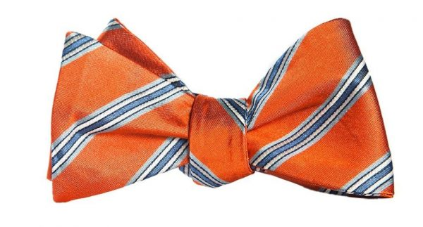 Orange and Blue Striped Bow Tie