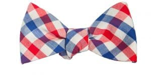Red White and Blue Gingham Bow Tie