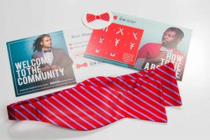 Red and Indigo Striped Bow Tie