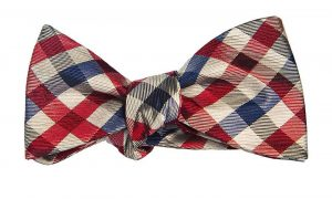 Red, White, and Blue Silk Gingham Bow Tie