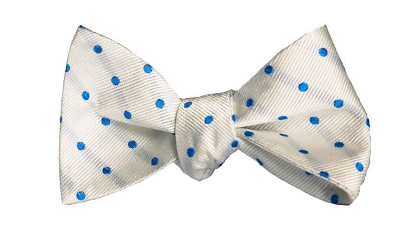 White and Blue Polka Dot Bow Tie