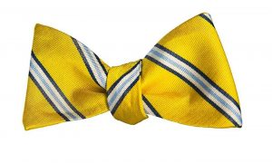 Yellow and Blue Striped Bow Tie