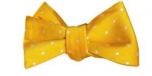 Yellow and White Polka Dot Bow Tie