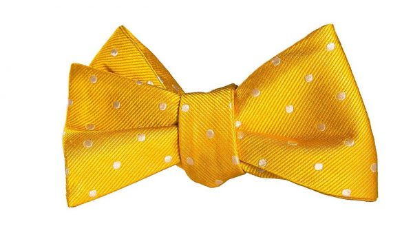 Yellow and White Polka Dot Bow Tie