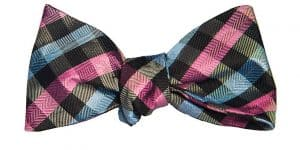 Pink and Blue Gingham Bow Tie