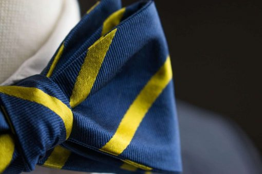 Navy and Yellow Stripes Bow Tie
