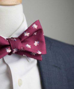 Burgundy Samurai Hippo Bow Tie