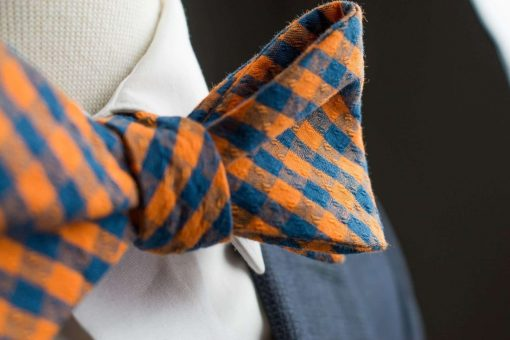 Orange and Navy Gingham Bow Tie