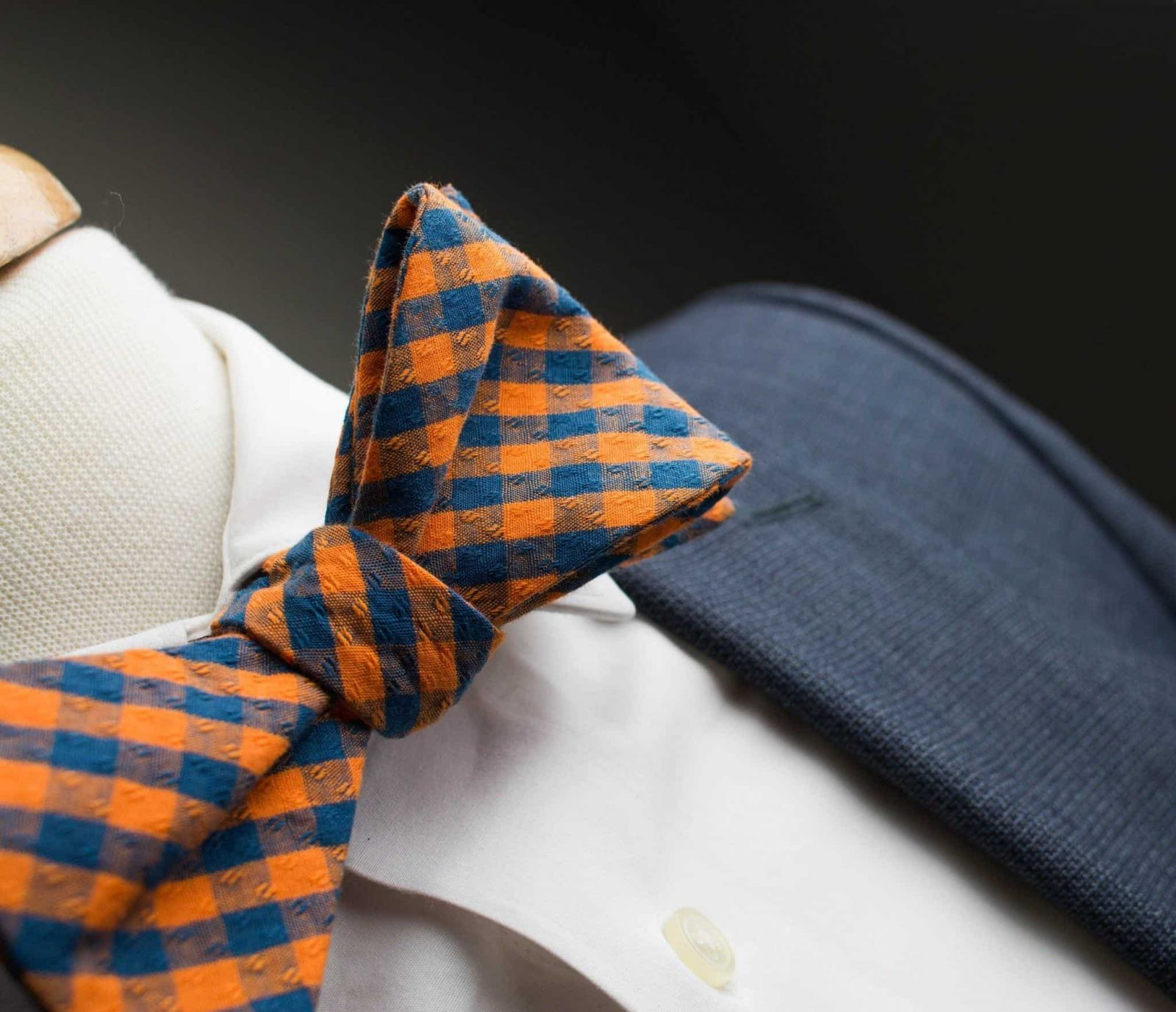 0ce5c0693e23 Orange and Navy Gingham Bow Tie