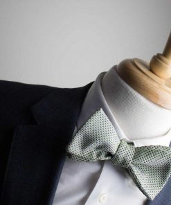 Italian Silk Green Checked Bow Tie