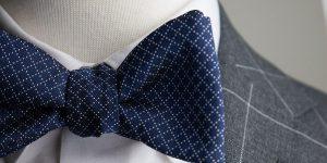 Italian Silk Navy Jacquard Bow Tie