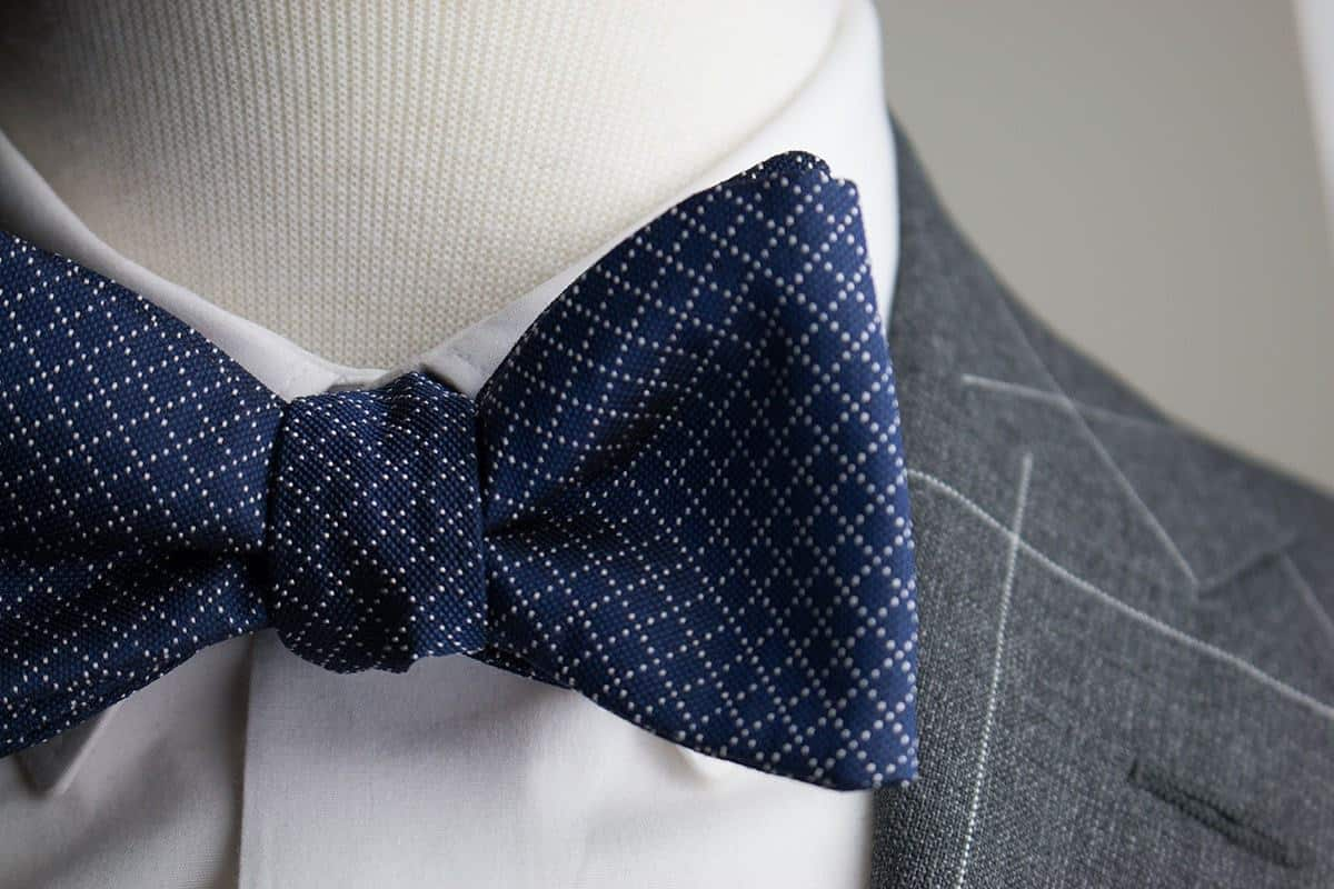 Italian Silk Navy Jacquard Bow Tie that is fancy and luxury