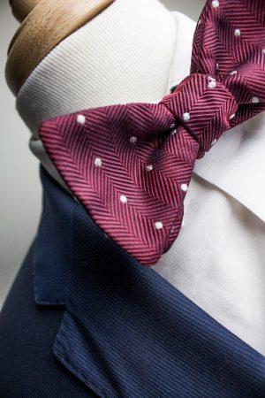 Italian Silk Burgundy Polka Dot Bow Tie
