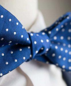Italian Silk Blue Polka Dot Bow Tie