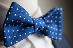 Italian Silk Blue Polka Dot Bow Tie
