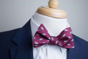 Burgundy When Pigs Fly Bow Tie