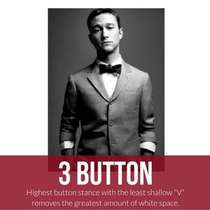 3 button suit with bow tie