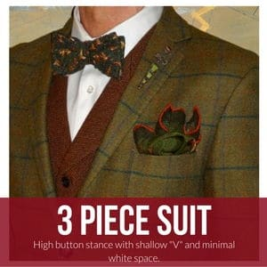 3 piece suit with bow tie