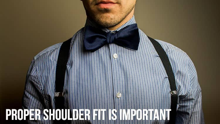 shoulder fit with suspenders