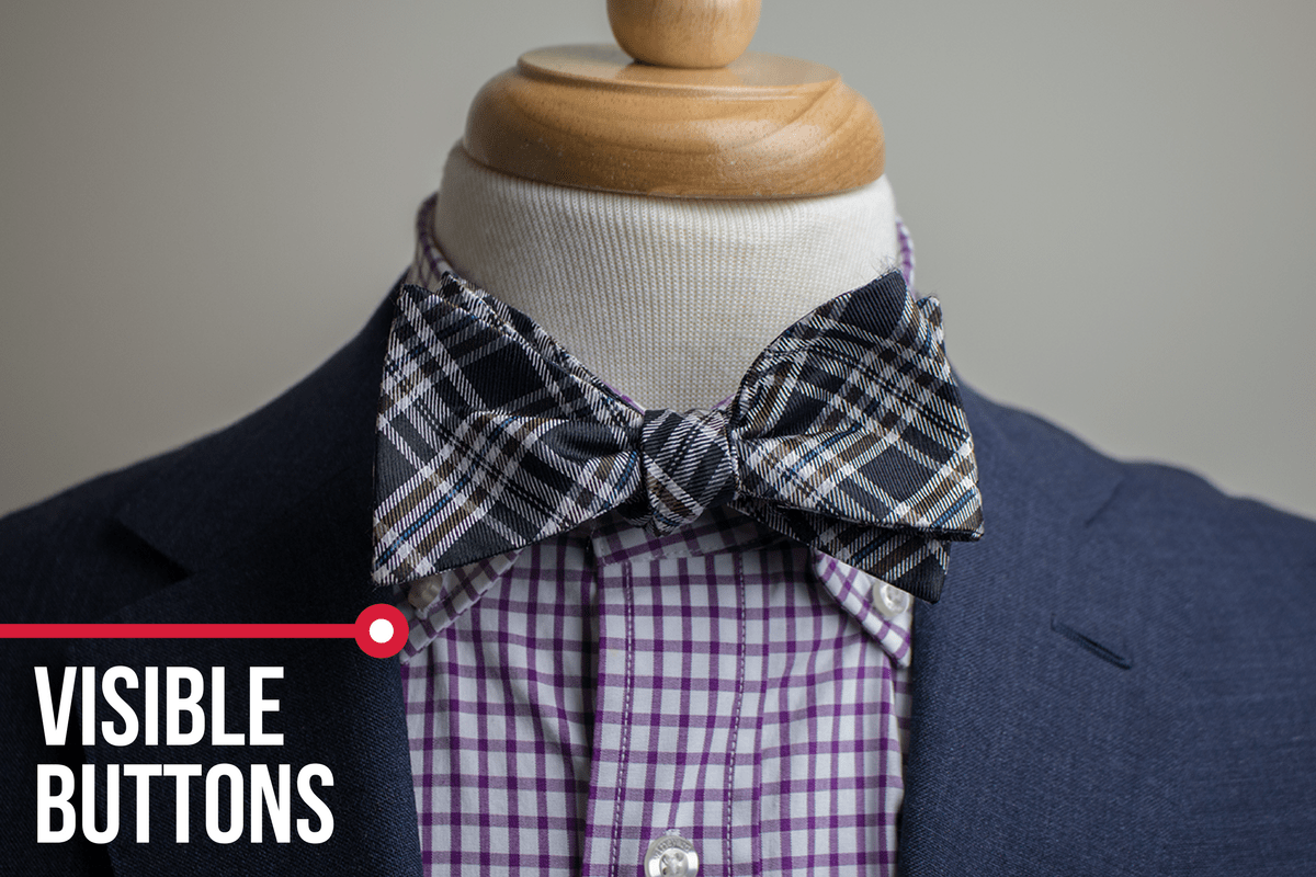 plaid bow tie visible buttons