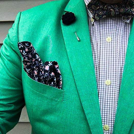 bow tie Green Suit Jacket And Checked Shirt