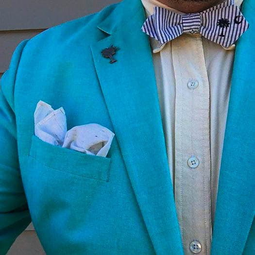 Sky Blue Jacket and Striped Bow Tie