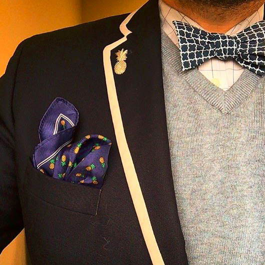 Suit Jacket, Gray Vest, And Bow Tie
