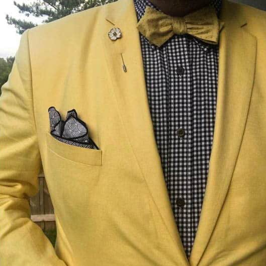 bow tie with yellow jacket