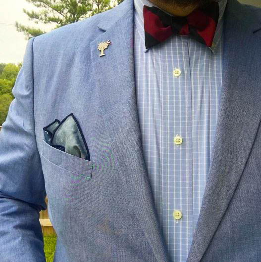 red bow tie with blue jacket