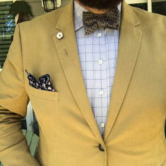 Tan Suit Jacket And Checked Shirt