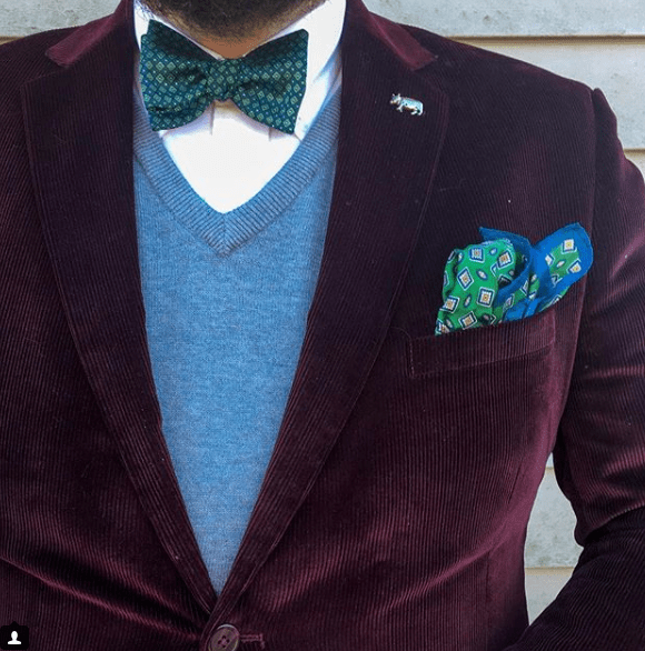bow tie with maroon jacket and gray sweater