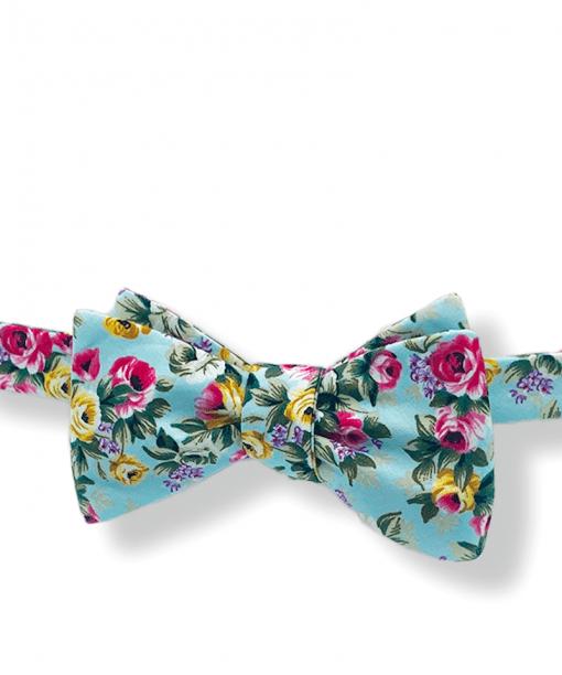 Aqua Big Bold Floral Bow Tie tied