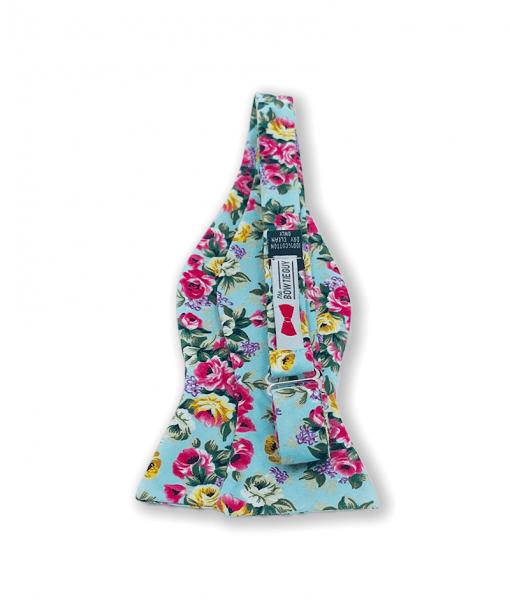 Aqua Big Bold Floral Bow Tie untied